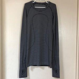 LULULEMON Black & White Striped Running Shirt